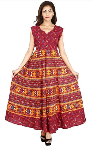 Multi Color Cotton Stitched Dress - JFDL2108504