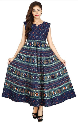 Multi Color Cotton Stitched Dress - JFDL2108505