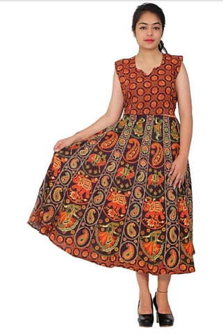 Multi Color Cotton Stitched Dress - JFDL2108509