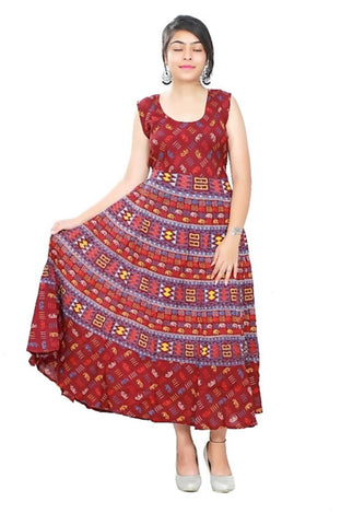 Multi Color Cotton Stitched Dress - JFDL2108602