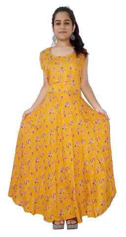 Yellow Color Rayon Stitched Dress - JFDR2204109
