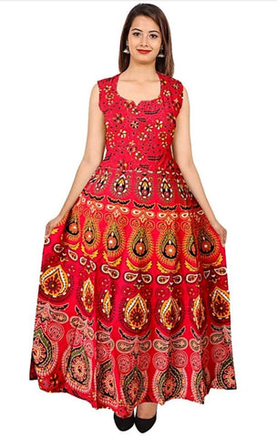 Red Color Rayon Stitched Dress - JFDR2204204