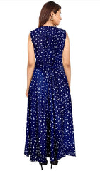Blue Color Rayon Stitched Dress - JFDR2204307