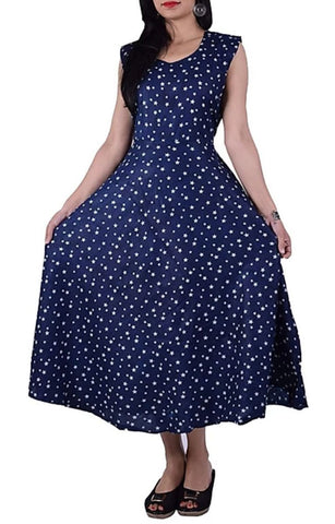 Navy Blue Color Rayon Stitched Dress - JFDR2204406