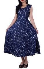 Buy Navy Blue Color Rayon Stitched Dress