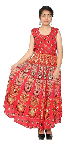 Red Color Rayon Stitched Dress - JFDR2204902