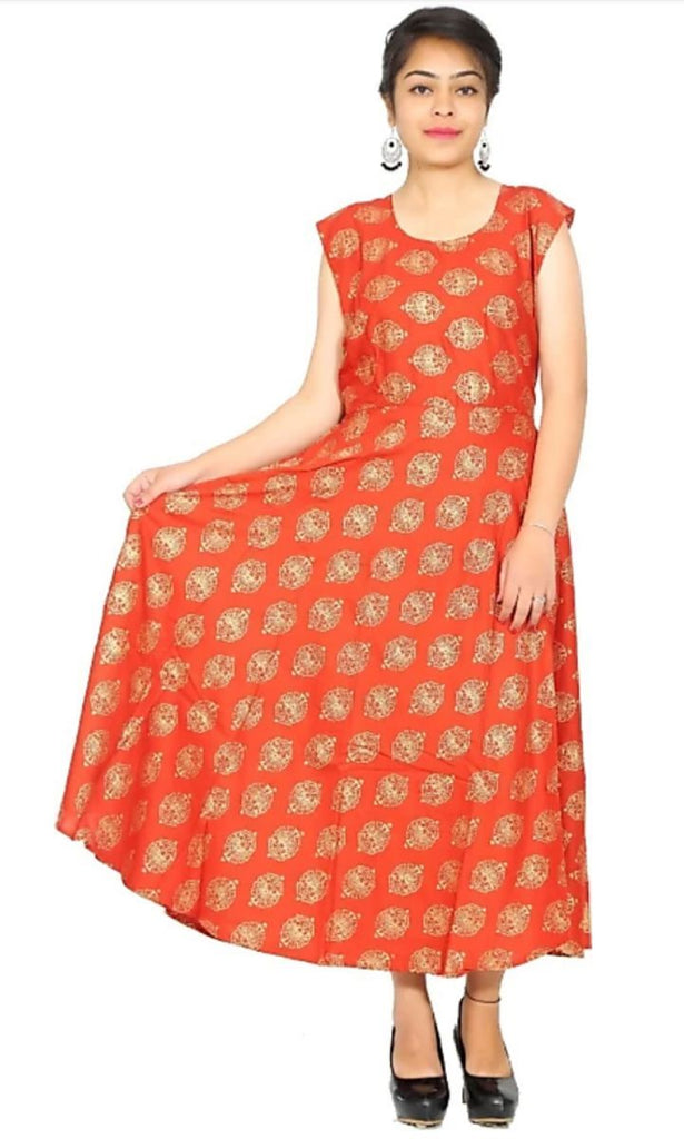 Buy Orange Color Rayon Stitched Dress