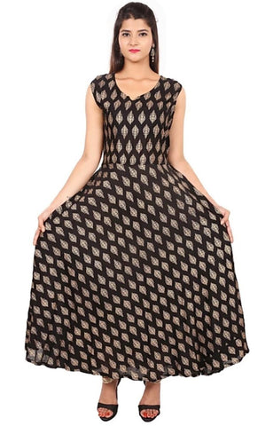 Brown Color Rayon Stitched Dress - JFDR2214201