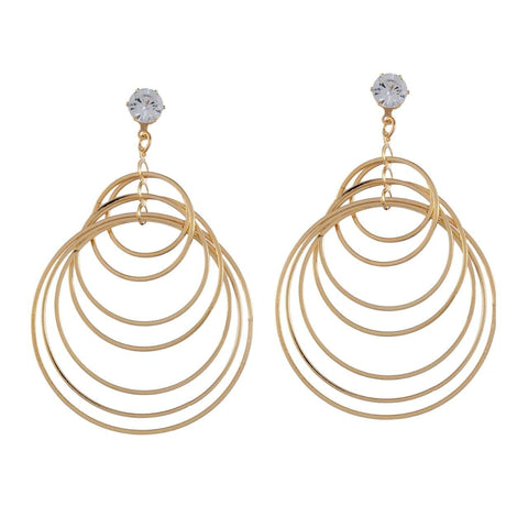 Gold Color Metal Earrings - JFE-2