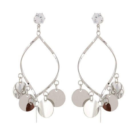 Silver Color Metal Earrings - JFE-4