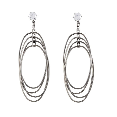 Silver Color Metal Earrings - JFE-5