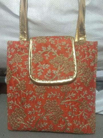 Orange Color Silk Embroidery Hand Bag - JFHB-1
