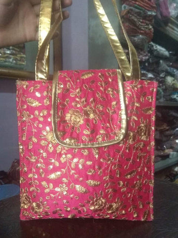 Pink Color Silk Embroidery Hand Bag - JFHB-2