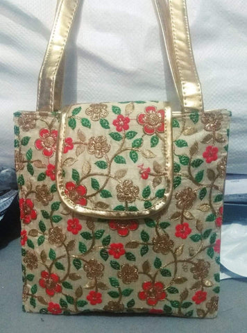 Cream Color Silk Embroidery Hand Bag - JFHB-3