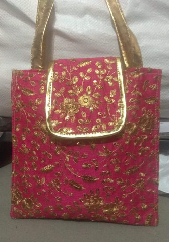 Pink Color Silk Embroidery Hand Bag - JFHB-4