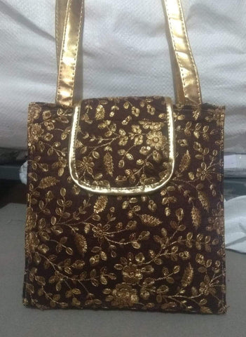 Brown Color Silk Embroidery Hand Bag - JFHB-5
