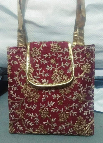 Red Color Silk Embroidery Hand Bag - JFHB-6