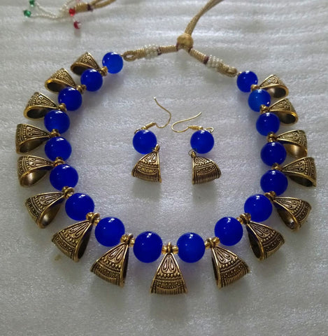 Blue Color Alloy Necklace Set - JFNS-3