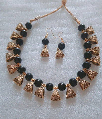 Black Color Alloy Necklace Set - JFNS-4
