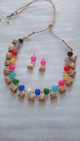 Multi Color Alloy Necklace Set - JFNS-5