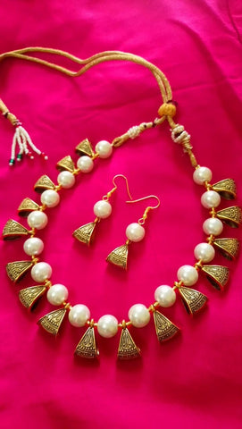Cream Color Alloy Necklace Set - JFNS-6