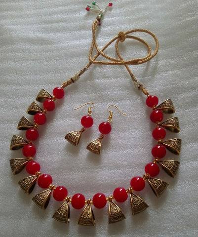 Maroon Color Alloy Necklace Set - JFNS-7