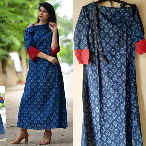 Navy Color Cotton Women's Stitched Kurti - JFS-112