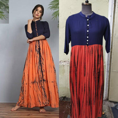 Navy and Peach Color Rayon Women's Stitched Kurti - JFS-115