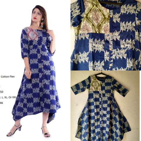 Navy Color Cotton Women's Stitched Kurti - JFS-149