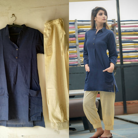 Navy Color Cotton Women's Stitched Kurti - JFS-152