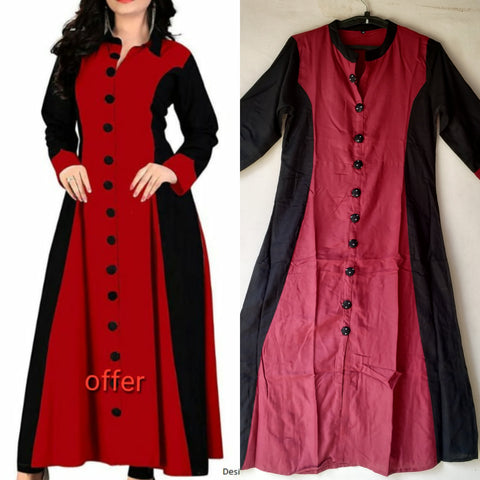 Red and Black Color Rayon Women's Stitched Kurti - JFS-163