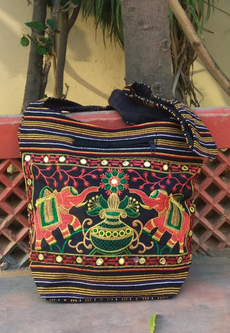Black Color Cotton Jaipuri Traditional Shoulder Bag - JFSB-1