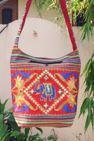 Red Color Cotton Jaipuri Traditional Shoulder Bag - JFSB-3