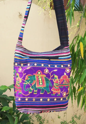 Violet Color Cotton Jaipuri Traditional Shoulder Bag - JFSB-4