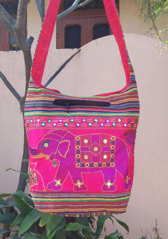 Pink Color Cotton Jaipuri Traditional Shoulder Bag - JFSB-6