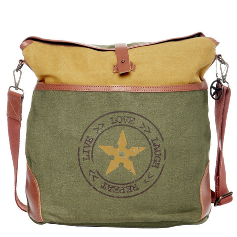 Green Color Upcycled Canvas And Buff Leather Womens Hobo Bag - JH72900HB