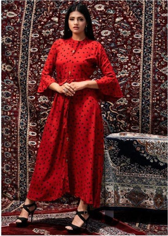 Red Color Cotton Women's Stitched Kurti - JINI-3003