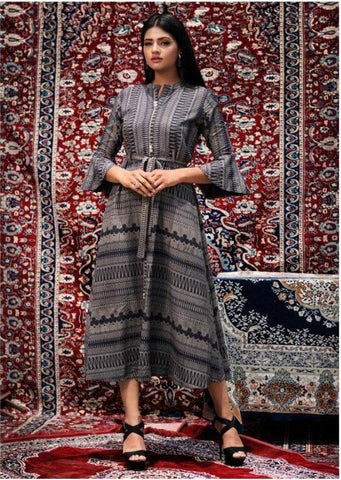 Grey Color Cotton Women's Stitched Kurti - JINI-3005