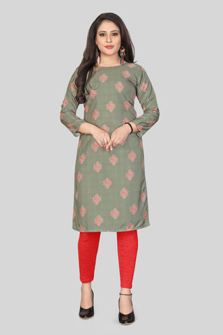 Grey Color Heavy Maslin Women's Stitched Kurti - JINI-R5