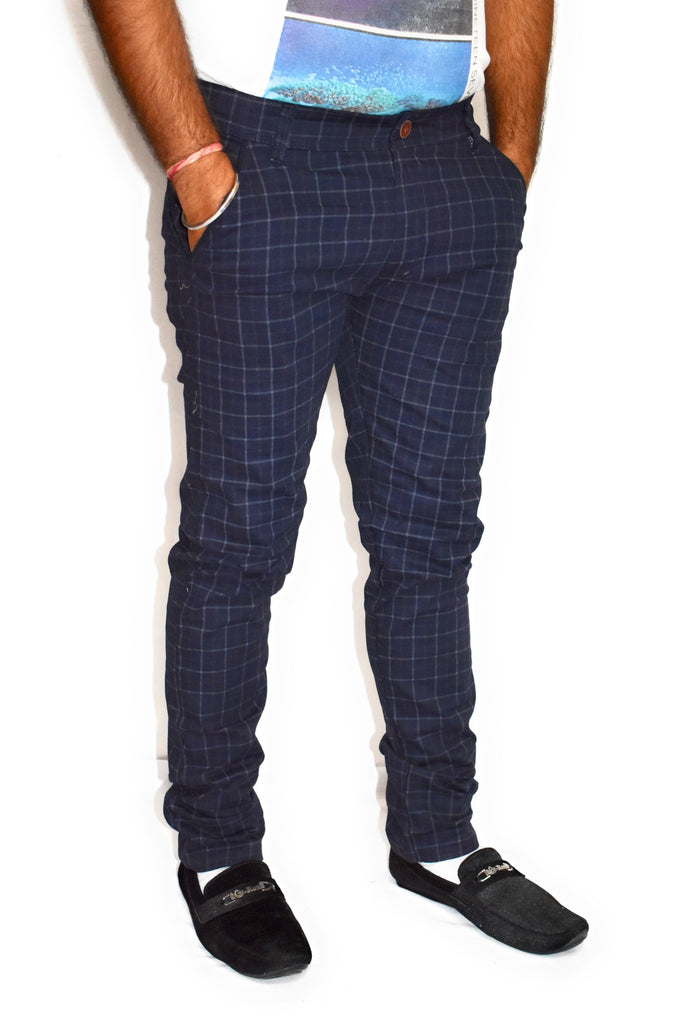 Buy Blue Color Cotton Mens Trouser