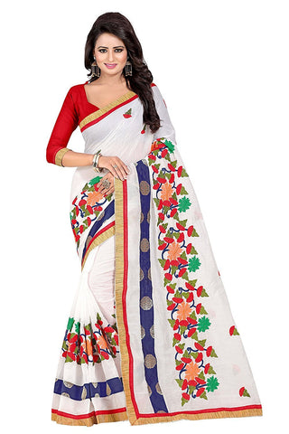 White Color Chanderi Silk Saree - JJ101