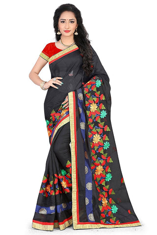Black Color Chanderi Silk Saree - JJ104