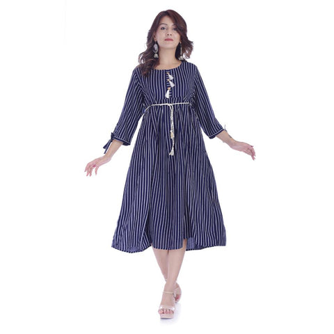 Navy Blue Color Rayon Women's Printed Stitched Kurti - JK-03