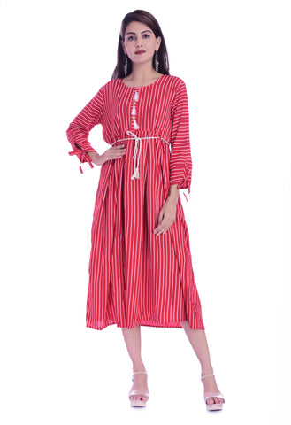 Red Color Rayon Women's Printed Stitched Kurti - JK-05