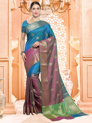 Blue and Purple Color Silk Saree - JLS7017