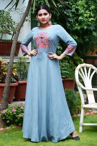 Sky Blue Color Rayon Stitched Kurti - JM0-7251
