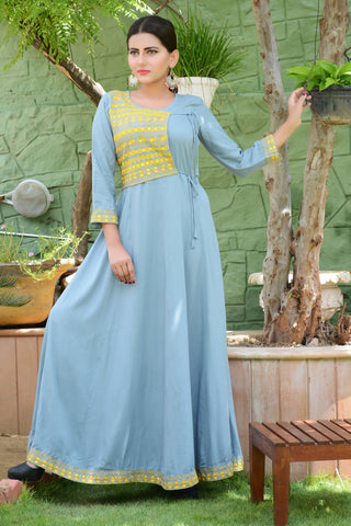 Sky Blue Color Rayon Stitched Kurti - JM0-7252