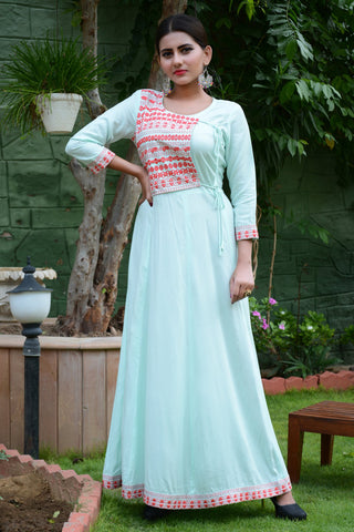 Sea Green Color Rayon Stitched Kurti - JM0-7339
