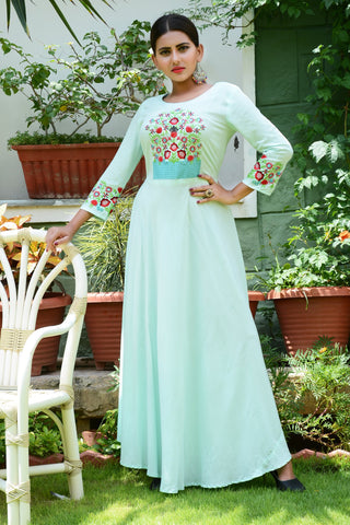 Sea Green Color Rayon Stitched Kurti - JM0-7340