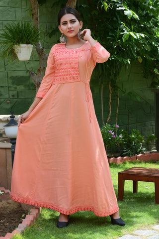 Orange Color Rayon Stitched Kurti - JM0-7351